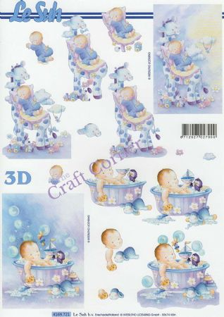New Baby In Blue Designs 3d Decoupage Sheet